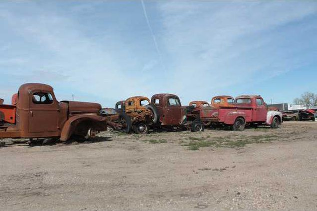 rows of old trucks