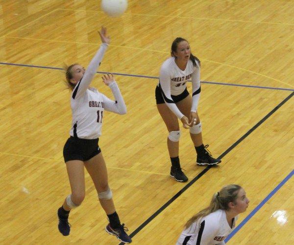 11 Jenna Mauler saves the volleyball.JPG