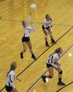 11 Jenna Mauler saves the volleyball.JPG
